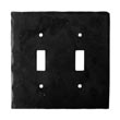 902TS - Forged Iron Switch Cover Plate - 2 Gang Toggle - Flat Black
