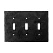 903TS - Forged Iron Switch Cover Plate - 3 Gang Toggle - Flat Black