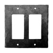 912FS - Forged Iron Switch Cover Plate - 2 Gang Flip Switch - Flat Black
