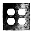 922SO - Forged Iron Outlet Cover Plate - 2 Gang Standard - Flat Black