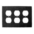 923SO - Forged Iron Outlet Cover Plate - 3 Gang Standard - Flat Black