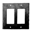 932FO - Forged Iron Outlet Cover Plate - 2 Gang Flip - Flat Black