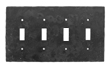 904TS - Forged Iron Switch Cover Plate - 4 Gang Toggle - Flat Black